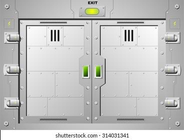 Sliding gateway 1. Steel door lock.