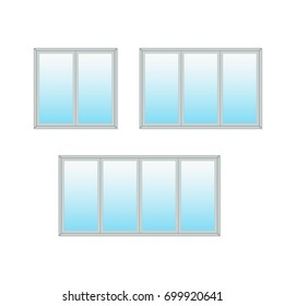 Sliding glass door icon set. Vector illustration isolated on white background