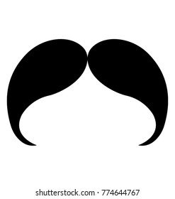 A slight inward curve, drooping mustaches in solid icon design representing asterix mustache