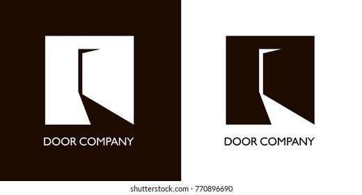slightly open door in form of crane. Black white versions