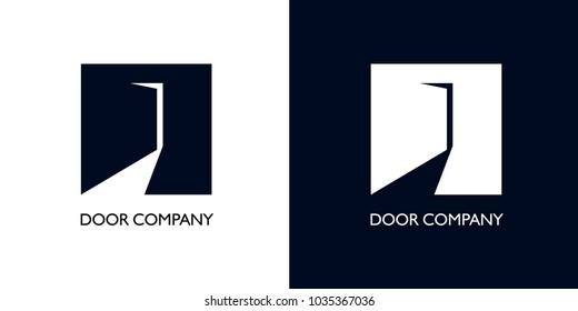 slightly open door with light in form of bird with long neck. vector options