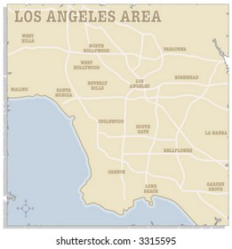 A slightly torn map of the Los Angeles area