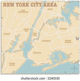 A slightly torn map of the New York City area