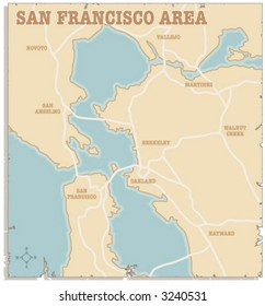 A slightly torn map of the San Francisco and Oakland areas