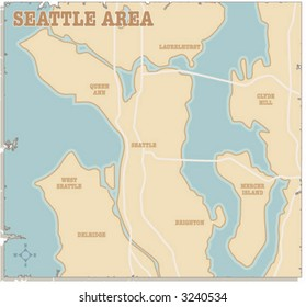 A slightly torn map of the Seattle area