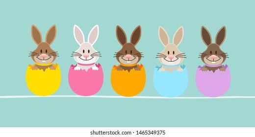 Slim Banner Five Easter Bunny Eggshell Turquoise