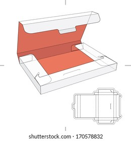 Slim Box with Lid and Blueprint Layout