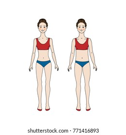 Slim and fat girl, weight loss concept. Vector illustration in cartoon style. Comparison of body. Good figure.