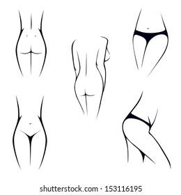 slim female body parts, intimate, torso, waist,
