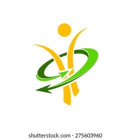 Slim figure and active lifestyle logo.