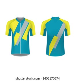 Slim fit t-shirt design. Sportswear design for competitions, promo, racing, gaming, running, cycling tour. Templates for sublimation print blank. Vector illustration.