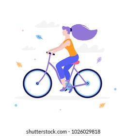 Slim girl riding a bicycle in flat design isolated on white background. Woman's activity at the park concept illustration.