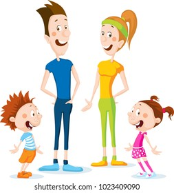 slim health family cartoon flat design illustration  - vector