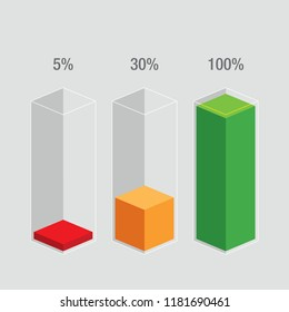 Slim histogram glass bars - red, orange, green. Modern flat design  infochart / infographic / icons with text, 5%, 30%, 100%, isolated on blank background, clipart vector eps 10