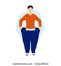 Slim man pulling his oversized pants. Weight loss concept. Flat modern trendy style.Vector illustration character icon. Isolated on white background.