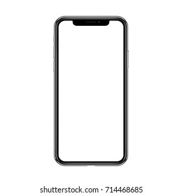 Slim new smartphone similar to iPhone x with blank black screen isolated