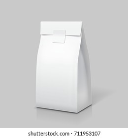 Slim paper bag package. White blank pack for food, tea, coffee or snack. Isolated vector
