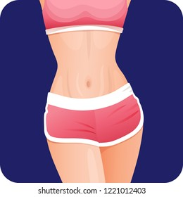 Slim sexy fitness girl in pink sportswear belly, stomach, thin waist mobile apps icon, slender sporty woman body, weight loss, vector illustration