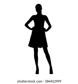 Slim sexy woman with long legs dressed in summer dresses and high heels standing with hands on her hips, isolated vector silhouette
