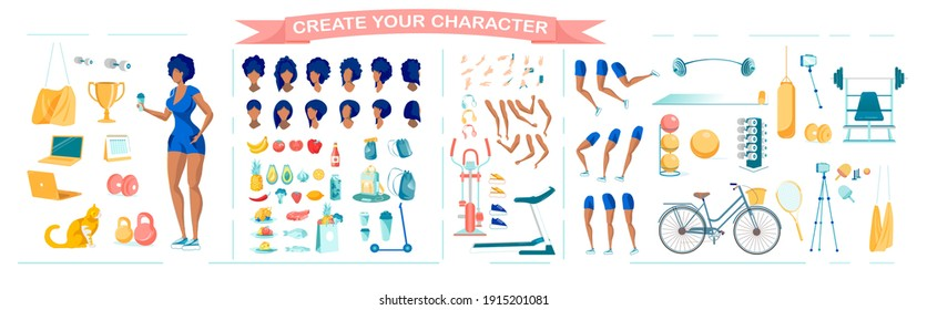 Slim Sportive African American Woman Cartoon Character Animation Set with Poses, Gestures and Healthy Lifestyle Equipment. Professional Sportswoman Constructor. Flat Vector Illustration Isolated.