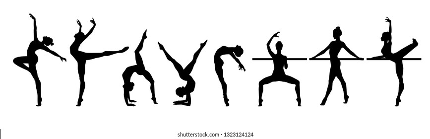 Slim sportive young woman doing yoga and fitness exercises. Healthy lifestyle. Modern silhouette illustration design isolated on white background for t-shirt graphics, icons, web, posters - Vector