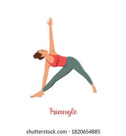 Slim sporty girl on white background in Triangle yoga pose, Trikonasana, stretching exercise, asana helps to relieve stress