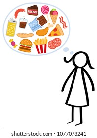 Slim stick figure woman on a diet, hungry, craving unhealthy food, binge eating, trying to lose weight isolated on white background