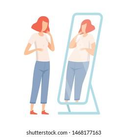 Slim Teen Girl Seeing Herself Fat in Mirror, Teenager Puberty Problem Vector Illustration