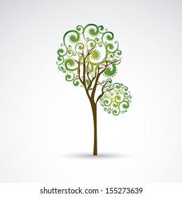 slim tree over gray background vector illustration
