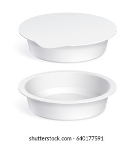 Slim White blank plastic container for yogurt, jams and other products. Vector illustration