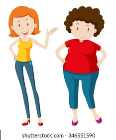 Slim woman and chubby woman illustration