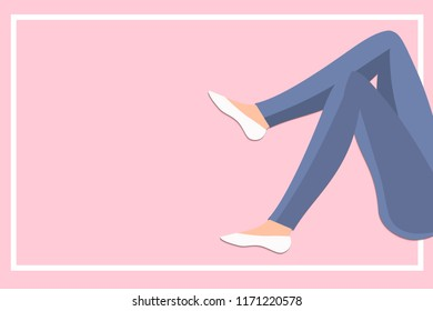 Slim Woman legs in jeans with frame on pink background vector illustration concept in flat style