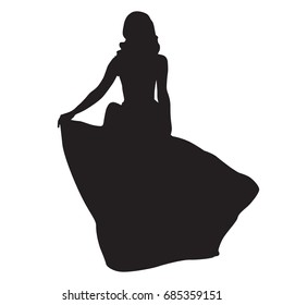 Slim woman in long night dress, vector silhouette