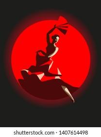 slim woman in red dress. flamenco dance