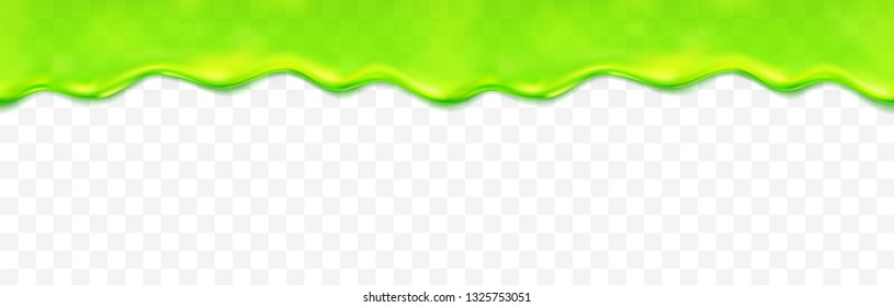 Slime drip seamless pattern isolated on transparent background. Green realistic mucus wave border. Vector sticky slime fluid template.