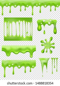 Slime. Green Glue dipping and flowing liquid drops and toxic splashes vector pictures