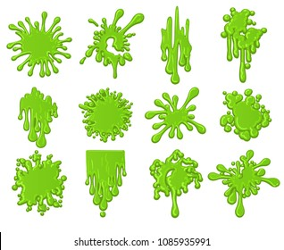 Slime splats. Dirt dripping green slime splodge set vector illustration