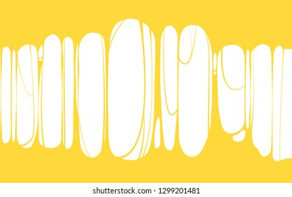 Slime sticky yellow banner, spittle, snot. Frame of scary zombie, alien slime. Cartoon flat slime isolated object. Fiction party design element. Vector, template background, illistration, isolated