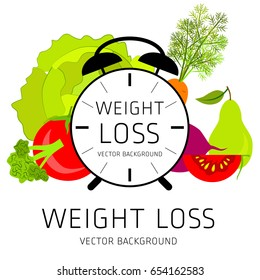 Slimming concept, weight loss, exercise, sports equipment, nutrition, vector background, health, banner, silhouette