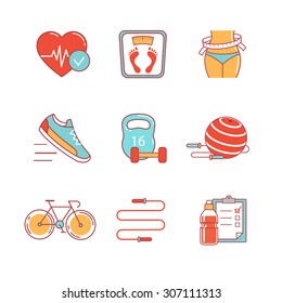 Slimming, fitness and healthy lifestyle thin line icons set. Modern flat style symbols isolated on white for infographics or web use.
