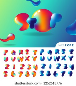 Slimy Liquid Baloon splash Colorful fonts. Vector Illustration