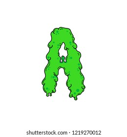 Slimy Vector Logo Letter A. Slime Snot A Letter Design Vector Illustration