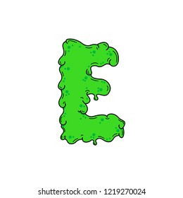 Slimy Vector Logo Letter E. Slime Snot E Letter Design Vector Illustration