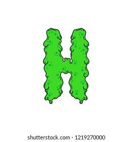 Slimy Vector Logo Letter H. Slime Snot H Letter Design Vector Illustration