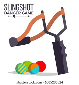 Slingshot Vector. Cartoon Slingshot Icon. Paintball, Child Game. Elastic Danger Toy. Isolated Illustration