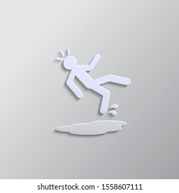 slip, accident, man paper style icon. Grey color vector background