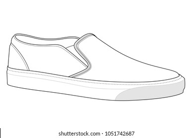 slip-on shoes vector illustration flat sketches template