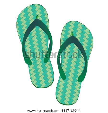 7ebf7cd2a3afcc Slippers beach isolated on white background. Green slippers design. - Vector