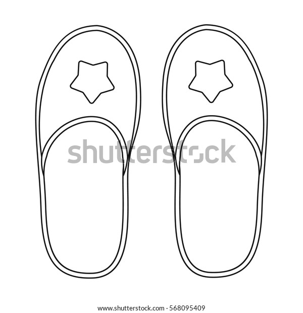 Slippers icon in outline style isolated on white background. Sleep and rest symbol stock vector illustration.