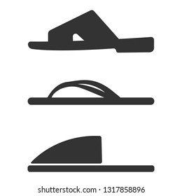 Slippers icon set. Simple set of slippers icons for web design isolated on white background. Vector fashion casual sandals Casual Sandals Vector fashion casual sandals for template. Concept tourism
